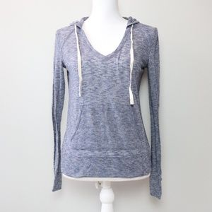 Lou & Grey Loft Blue Thin Knit Hooded Sweater